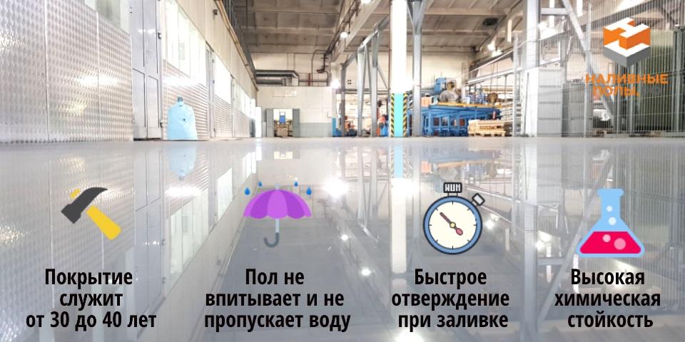 Преимущества наливных полов для промышленных помещений